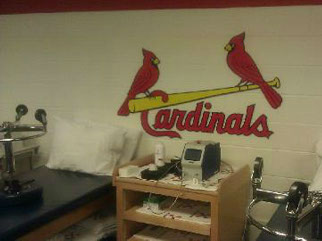 A Lite Cure laser in the St. Louis Cardinals clubhouse!